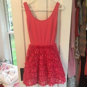 Pink dress with embroidered flowers